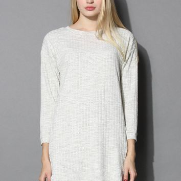 Basic Textured Cotton Dress in Sand