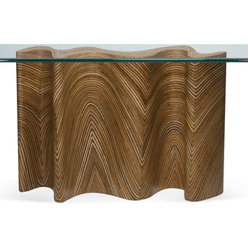 """Console Zigzag 33"""" Glass Top, Console Table"""