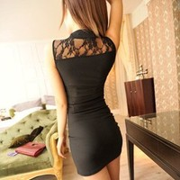 Black Lace Collar Splicing Slim Dress