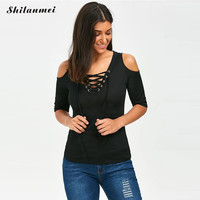 summer skinny tee shirt women sexy cold shoulder v neck lace up casual woman tshirt top ladies solid color black blusa tees 2017