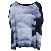Oversized Batwing Clouds Printed Black T-shirt