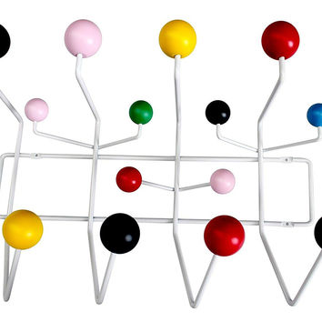 Modern Hang it all, Wall Mounted Coat Rack with Painted Solid Wooden Balls in Eight Colors