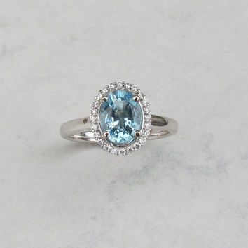 Aquamarine Diamond Halo 14k White Gold Engagement Ring Weddings Anniversary March Birthstone Gemstone Jewelry