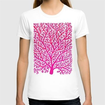 Fan Coral – Pink Ombré T-shirt by Cat Coquillette