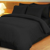 Black Damask Stripe Down Alternative 4-pc Comforter Set 100% Combed cotton 600TC