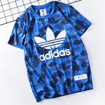 Adidas x Aape Bape Casual Camouflage Print Round Collar T-Shirt Top Blue
