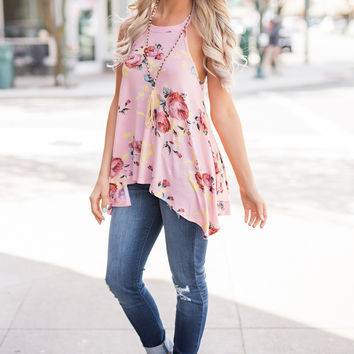 Endless Daydreams High Neck Halter Flowy Floral Top (Peach)