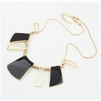 Faddish Square Cut Alloy with Black Rhinestone Lady's Necklace