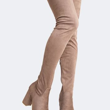 Chunky Heel Thigh High Boot