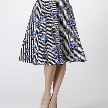 Striped & Floral A-Line Skirt
