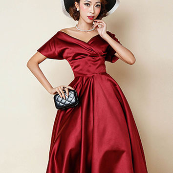 Red Off Shoulder Wrap Front Plain Homecoming Dress