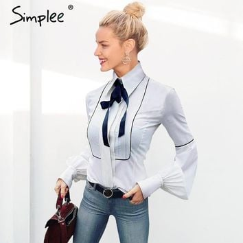 Simplee Elegant puff sleeve white blouse shirt winter sleeve bow blouse women blusas Slim new tops chemise femme