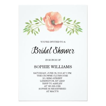 Pretty Pink Poppy Bridal Shower 5x7 Paper Invitation Card
