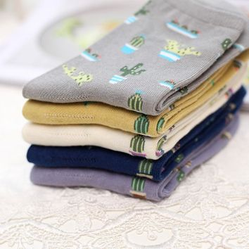 New 5 Colors Plant Cactus pattern women/girl socks comfortable lovely cute socks cotton Casual Chaussette Warm Calcetines Sox