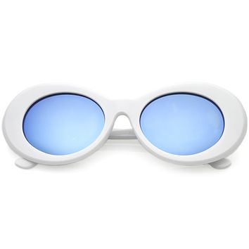 Retro 1990's Hipster Clout Goggles Oval Mirrored Lens Sunglasses C507
