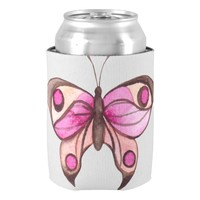 Pink Butterfly Fancy Can Cooler