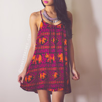 Elephant Stampede Swing Dress - Purple