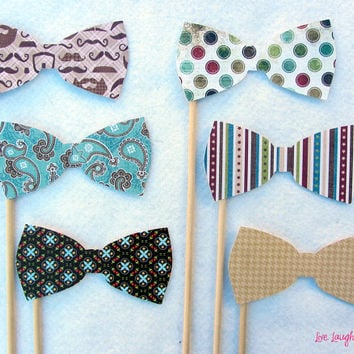Bow Ties on a stick Set of 6 or a la carte by livelaughlovelots