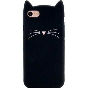 iPhone 7 Case, MC Fashion Cute 3D Black MEOW Party Cat Kitty Whiskers Protective Soft Case Skin for Apple iPhone 7 (2016) (Cat Whisker-Black)