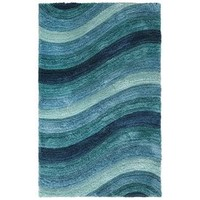 Larue Wave Shag Rugs - Teal