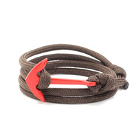 Red Anchor on Dark Brown Rope