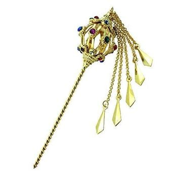Siwalai Thai Traditional Gold Plated Multicolor Crystals Hair Pin 55 Inches