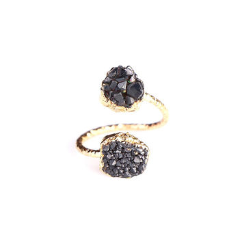 MAGNOLIA DOUBLE BLACK DRUZY RING