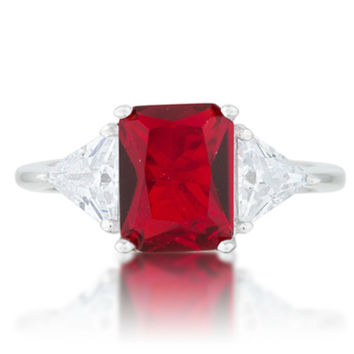 Gretchen Ruby Red Radiant Cut Three Stone Cocktail Ring  | 4.5ct | Cubic Zirconia | Silver