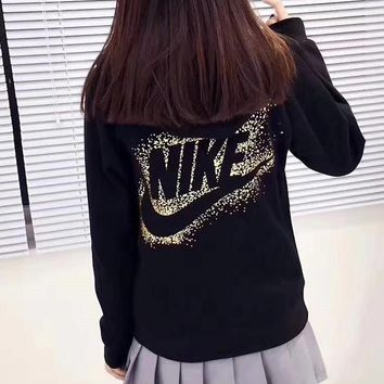 NIKE Gold Logo Women Zip-Up Hoodie Jacket Sweater Sweatshirts2