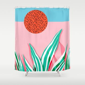 Freakin' - memphis throwback style palm springs neon art print 1980s vintage desert road trippin Shower Curtain by Wacka