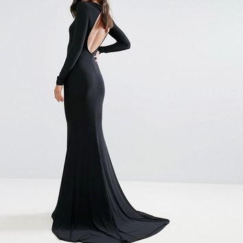 Club L Open Back Maxi Dress with Fishtail at asos.com