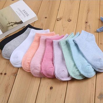 1Pair Women Socks Cute Candy Color Ankle Socks Woman Slippers Boat Socks