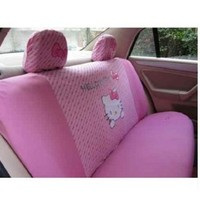 10pcs Universal Hello Kitty Car Seat Covers Front & Rear Cover Accessory (pink)