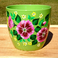 Flower Pot With Pink and Burgundy Flowers