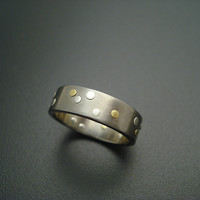 Sprinkle of Rivets  by Tavia Brown: Gold  Silver    Titanium Wedding Band - Artful Home