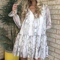 Women Long Sleeve Print White Short Party Dress Female Autumn Winter V Neck Loose Ruffle Mini Dress Ladies