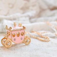 Romantic Vintage Pink Pumpkin Car Crystal Pendant Lady Korean Long Necklace Gift