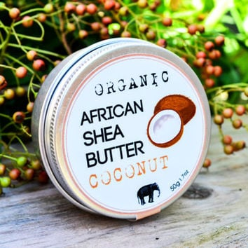 Organic Shea Butter with Coconut  Essential Oil / Healing Cream / Naturally Refined Shea Butter / Homemade Body Butter/ Lanna Cafe koh chang