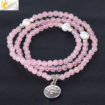CSJA 2018 New Women Bracelet 4mm Natural Stone Crystal 108 Mala Beads Multilayer Bangle Flower Pearl Fittings Girl Jewelry F357