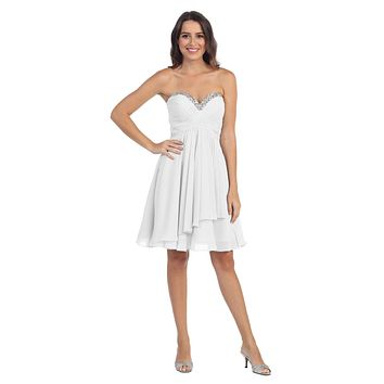 Chiffon Knee Length Semi Formal Dress Off White Strapless