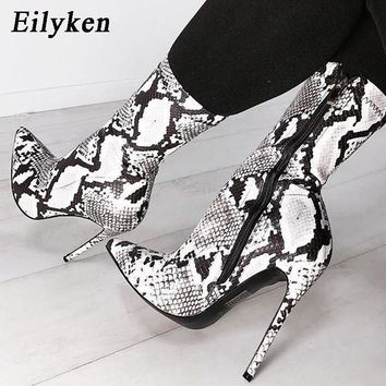 Eilyken Women Zipper Boots Snake Print Ankle Boots High heels Fashion Pointed toe Ladies Sexy shoes 2018 New Chelsea Boots