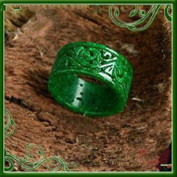 Natural green  jadeite jade. charm  Hand-carved jadeite jade  ring -Customize your ring size ( us 5 - 12 )