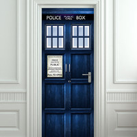 "Door STICKER Tardis Doctor Who Police box movie magical mural decole film self-adhesive poster 30x79""(77x200 cm)"
