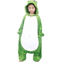 Anime Cute Frog jumpsuit Cosplay Frog Onesuit Children Kids Flannel Animals Pajamas Anime Cartoon Costumes kids Baby Sleepwear