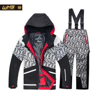 WHS New Boys ski suit teenager  jacket windproof coats and pant kids skiing suit waterproof clothes 4-16 year Take off in second