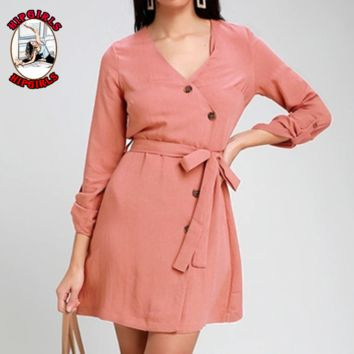 New fashion solid color long sleeve dress women Pink