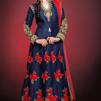 Navy Blue and Red Abaya Style Floor Length Party Wear Suit