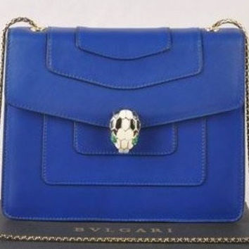 Bulgari Blue Leather Shoulder Bag