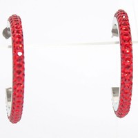 "1.5"" Hoop Earrings with Beautiful Sparkly HIGH QUALITY CRYSTALS- Red"