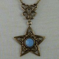 STAR SPELLS -- aged brass -- Swarovski Crystal Necklace by Crow Haven Road